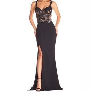 Dress The Population Black Sequin Lace Gown Dress